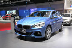BANGKOK - MARCH 25: BMW 218i Active Tourer   car on display at T Royalty Free Stock Images