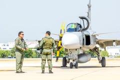 BANGKOK - MARCH 23:Breitling Jet Team Under The Royal Sky Breitling Team and Rayal Thai Air Force Air Show at Donmueang Bangkok Stock Photos