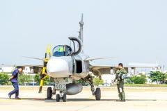 BANGKOK - MARCH 23:Breitling Jet Team Under The Royal Sky Breitling Team and Rayal Thai Air Force Air Show at Donmueang Bangkok Royalty Free Stock Photos