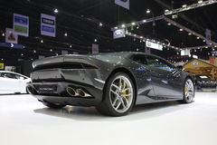 Bangkok - March 31 : Lamborghini huracan on black car at The 37th Bangkok International Thailand Motor Show 2016 on March 26, 2016 Royalty Free Stock Image