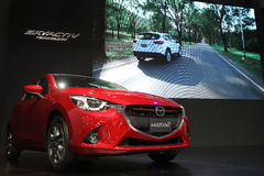 Bangkok - March 31 : Mazda 2 on red car at The 37th Bangkok International Thailand Motor Show 2016 on March 26 Royalty Free Stock Photos