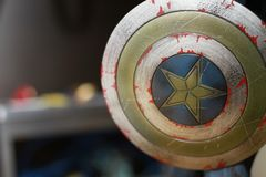The shield is the weapon of Captain America stock images
