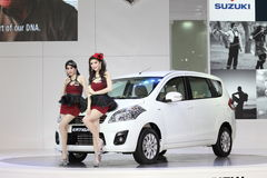 BANGKOK - MARCH 26 : White Suzuki car with Unidentified models on display at The 34th Bangkok International Motor Show 2013 on Mar Stock Photos