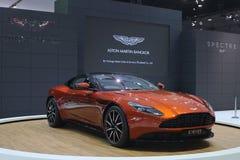Bangkok - mars 31: Aston svalaspökbild 007 DB11 på den orange bilen på den 37th Bangkok internationella Thailand motoriska showen Royaltyfri Bild