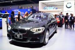 BANGKOK - Mars 26: BMW 116i på skärm på 36th Bangkok Interna Arkivbild