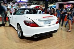 BANGKOK - Mars 26: Mercedes Benz SLK 200 kolblick, sport Co Arkivfoto