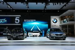 BANGKOK Marzec 28, BMW i 740 Le xDrive Czyści Ex, Wszystkie nowe 5 serii Zdjęcie Royalty Free