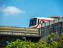 The Bangkok Mass Transit System, commonly known as the BTS or the Skytrain the image was taken at Mo Chit station. BANGKOK, THAILAND. – On April 21, 2018 stock photography