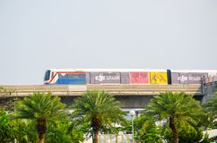The Bangkok Mass Transit System, commonly known as the BTS or the Skytrain the image was taken at Mo Chit station. BANGKOK, THAILAND. – On March 24, 2018 royalty free stock photos