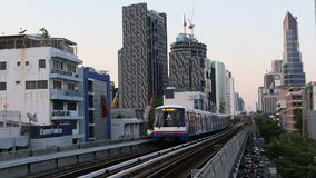 The Bangkok Mass Transit System, commonly known as the BTS or the Skytrain. BANGKOK, THAILAND - APR 8, 2016: The Bangkok Mass Transit System, commonly known as stock footage