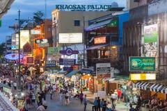 Khao San Road, Bangkok. BANGKOK - MAY 14: Tourists and street vendors at Bangkok`s backpacker hotspot Khao San Road on May 14, 2017 Stock Photography