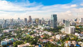 Bangkok Metropolis, aerial view over the biggest city in Thailand.  stock photography