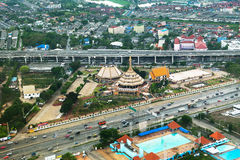 Bangkok Metropolis. Aerial view over the biggest city in Thailand Royalty Free Stock Photo