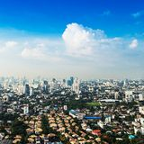 Bangkok Metropolis, aerial view over the biggest city. In Thailand royalty free stock photo