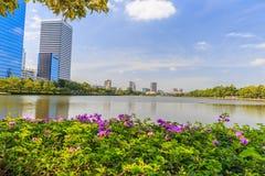 Bangkok Metropolis, the capital. Of Thailand. The Sukhumvit area with Benjasiri Park stock photography