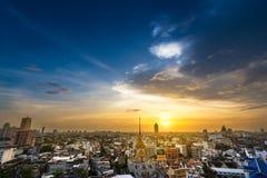 Bangkok metropolis cityscape. Cityscape on sunset time at Wattraimitr temple in the chinatown Bangkok metropolis Thailand Stock Photography