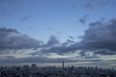 Bangkok metropolis in nightfall, sky and cloud Thailand Royalty Free Stock Photo