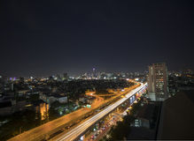 Bangkok metropolis traffic in night time Thailand Stock Photo