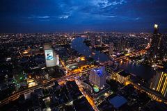 Bangkok miasta nocy linia horyzontu Fotografia Royalty Free