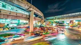 Bangkok miasta nocy widok z głównym ruchem drogowym Listopad, 2016 4K timelapse zdjęcie wideo