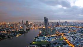 Bangkok miasta przegląd przy wschodem słońca obraz stock