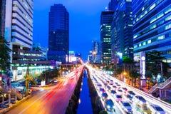Bangkok mit Stau Stockfotografie