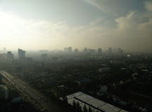 Bangkok morning at a skyhigh view. Royalty Free Stock Image
