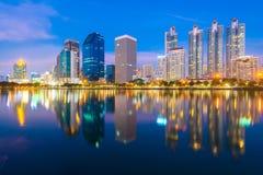Bangkok at night. Bangkok city downtown at night with reflection of skyline, Bangkok,Thailand Royalty Free Stock Image