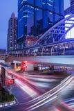Bangkok at night from autos lights Stock Image