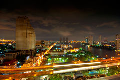 Bangkok night city panorama Royalty Free Stock Image