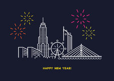 Bangkok night firework inline illustration vector. Bangkok Thailand city inline illustration vector Royalty Free Stock Images