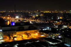 Bangkok night landscape with power substation and bridge thailan Stock Photo