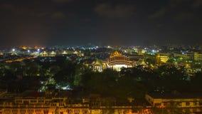 Bangkok night light landscape from wat sraket golden mount stock video footage