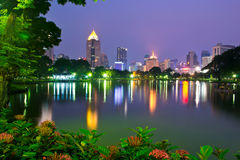 Bangkok at night , Lumphini Park Stock Image