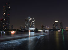 Bangkok night river view Royalty Free Stock Photo