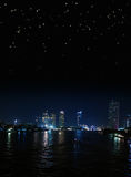 Bangkok night riverside with starry sky Royalty Free Stock Photo