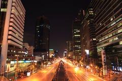 Bangkok Night Road Stock Image