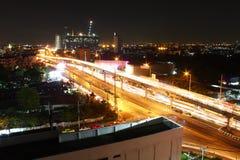 Bangkok night-scape. Aerial view street in Bangkok at night Royalty Free Stock Image