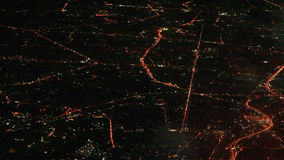 Bangkok night scene viewed from the plane. The bangkok night scene viewed from the plane stock footage