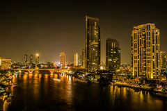Bangkok. Night in Thailand river. On the bright lights of the city Stock Images