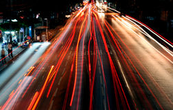 Bangkok night traffic Royalty Free Stock Photography