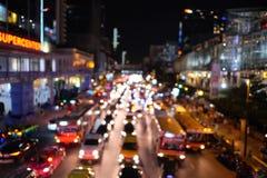 Bangkok night traffic jam Royalty Free Stock Photos