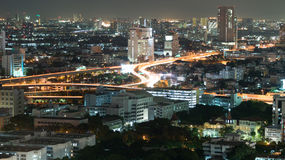 Bangkok at night with traffic light Stock Photography