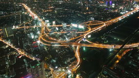 Bangkok night traffic timelapse. Night traffic at road junction timelapse in Bangkok, Thailand stock video