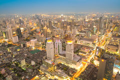 Bangkok at night or Twilight, Aerial Scenic Panoramic view Royalty Free Stock Images
