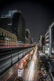 Bangkok by night. Bangkok at night, view from a metro station Stock Photo