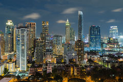Bangkok night view with skyscraper in business district in Bangk Stock Image