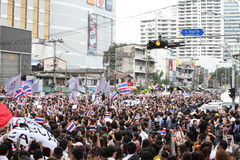 BANGKOK - November 7: A protester joins an anti-government rally Stock Photos