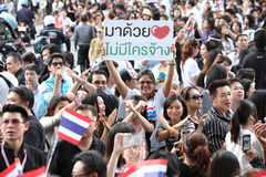 BANGKOK - November 7: A protester joins an anti-government rally Stock Image