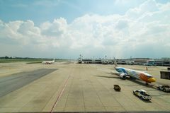 BANGKOK - OCT,8,2018 :The ` DONMUENG ` is Thai International Airport Where the planes of many Airlines being prepared for the fl stock photo